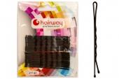 Невидимки Hairway 70 мм черные волнистые 24 шт/уп