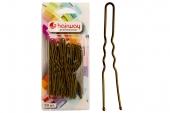 Шпильки Hairway 65 мм коричневые волнистые 50 шт/уп