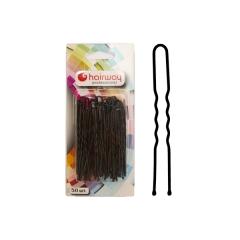 Шпильки Hairway 65 мм черные волнистые 50 шт/уп